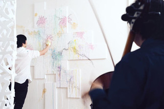 Visual artist Yu Chuan Chang with cellist JunYi Chow at the Barton Booth residency.