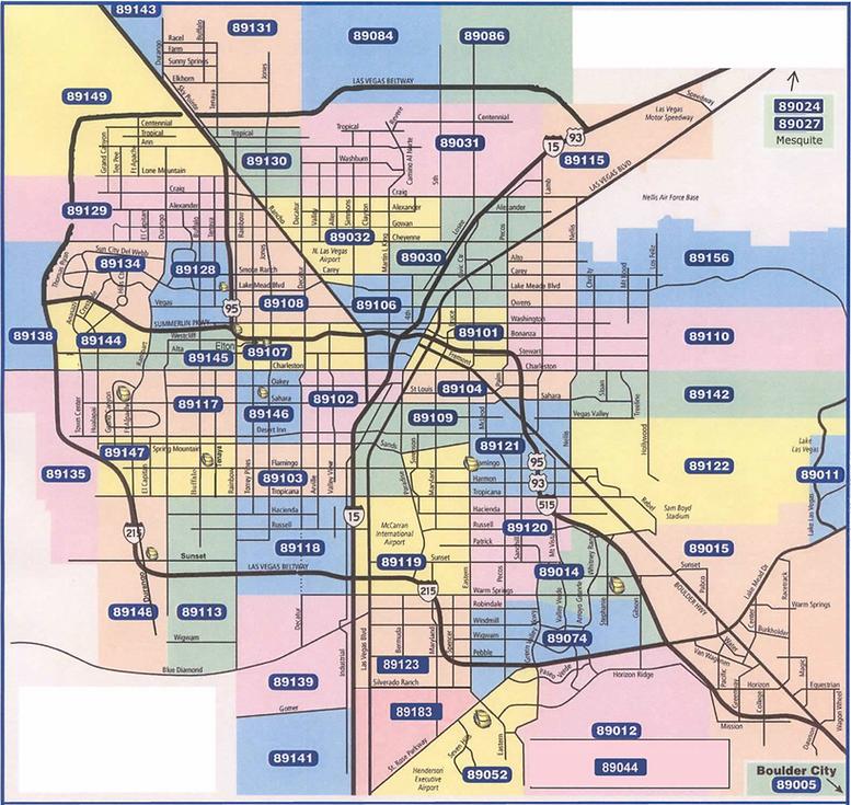 Las Vegas by zip codes