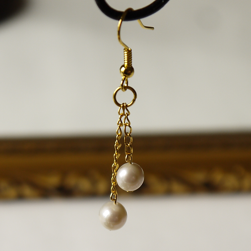 double ivory pearl chain earrings
