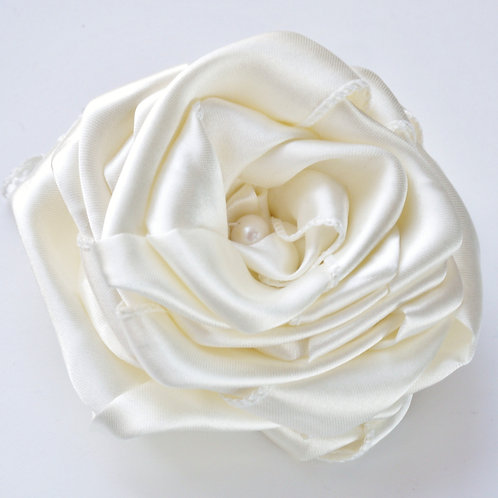 large ivory satin & pearl rose corsage brooch