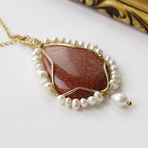 large goldstone teardrop cabochon pendant