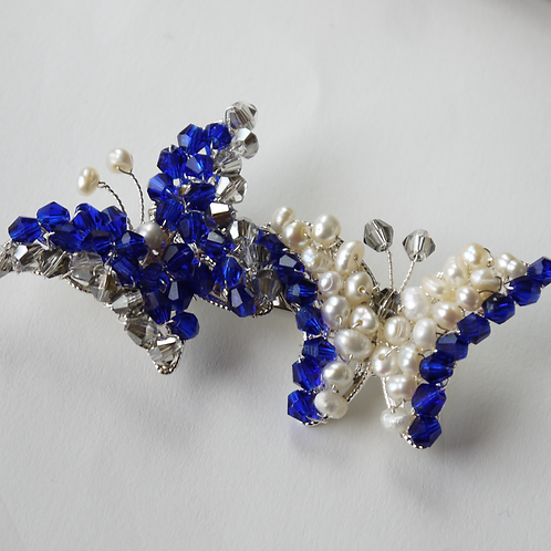 pearl and crystal silver butterfly brooch