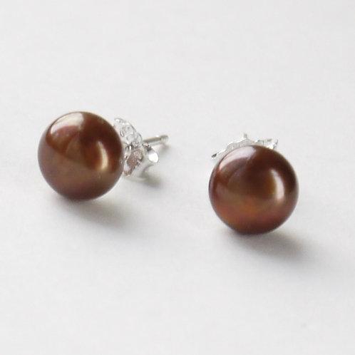 7mm chocolate brown pearl silver stud earrings