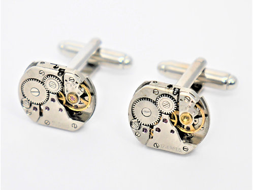 very small oblong watch mechanism cufflinks