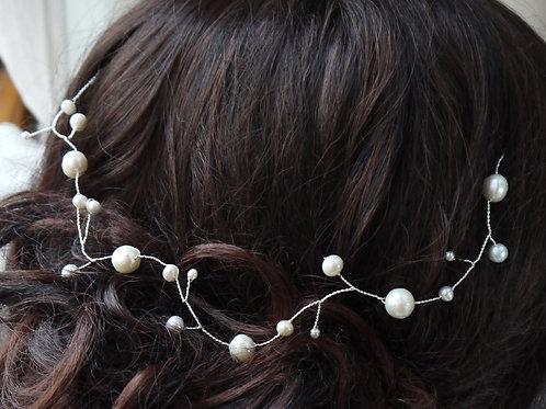 round ivory freshwater pearls Grecian hair vine