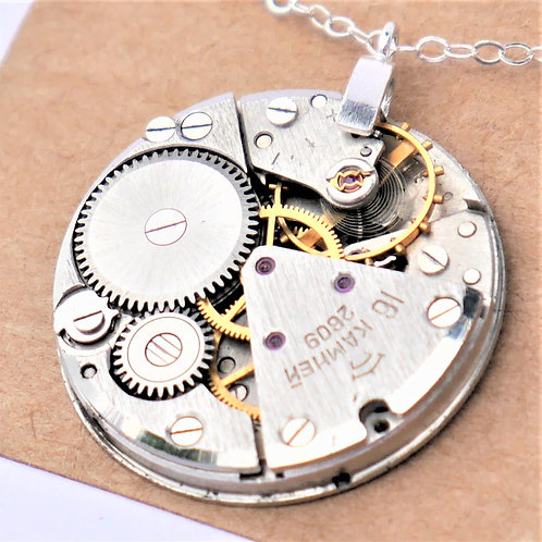 very large round vintage watch mechanism necklace on sterling silver chain