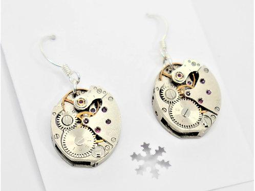 small oval vintage watch mechanism earrings on sterling silver hooks