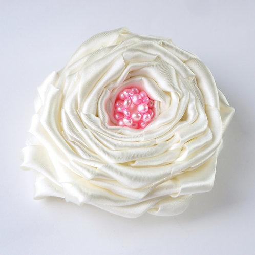 10cm ivory satin & baby pink pearl rose corsage