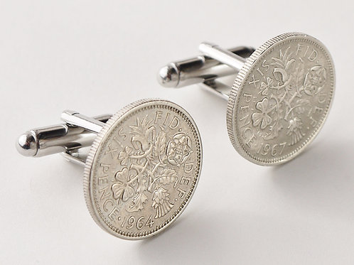 vintage lucky sixpence cufflinks