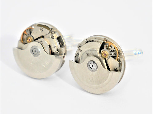 rare watch mechanism cufflinks with moving face