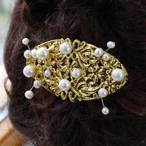 gold filigree barrette with ivory pearls