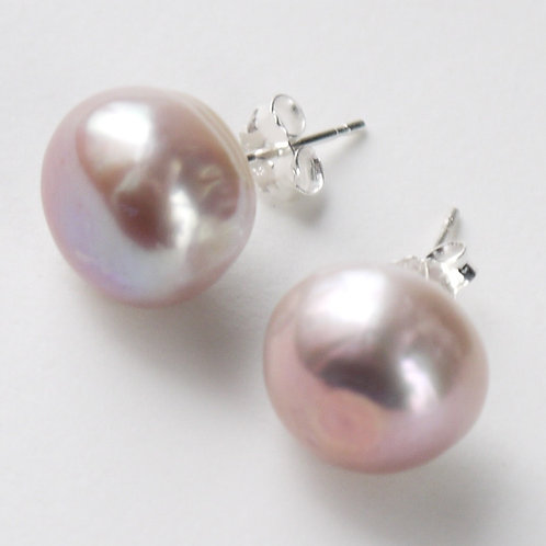 large 12mm lilac freshwater pearl stud earrings