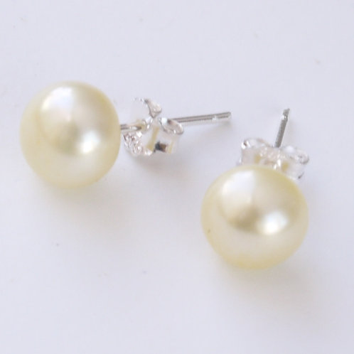 8mm yellow freshwater pearl silver stud earrings