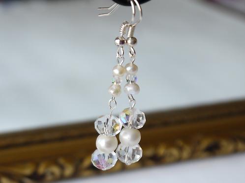 clear AB crystal & ivory pearl earrings