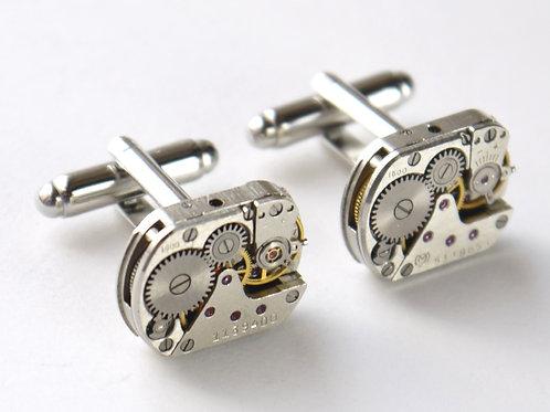small oblong watch mechanism cufflinks