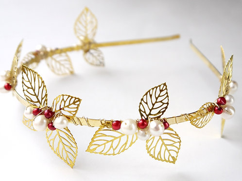 Christmas leaves and red & white pearl tiara