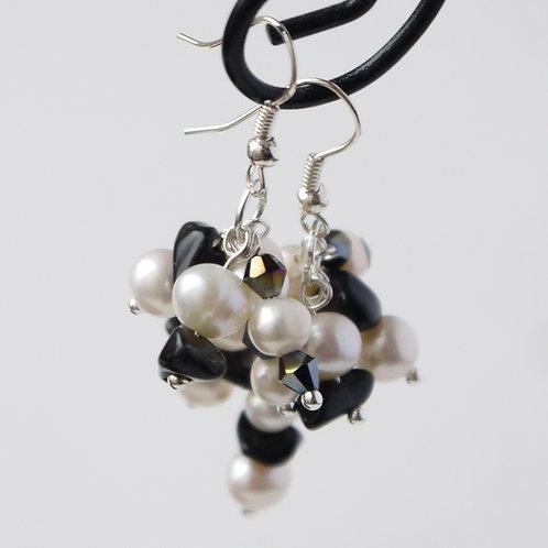 pearl, black onyx & crystal cluster earrings