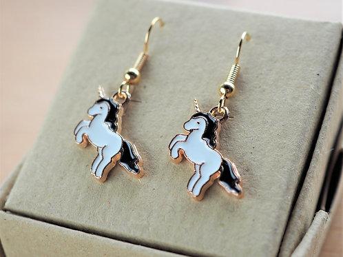 Black unicorn enamel earrings
