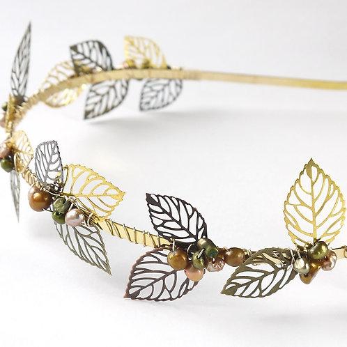 autumn leaves mixed metals & pearls bridal tiara