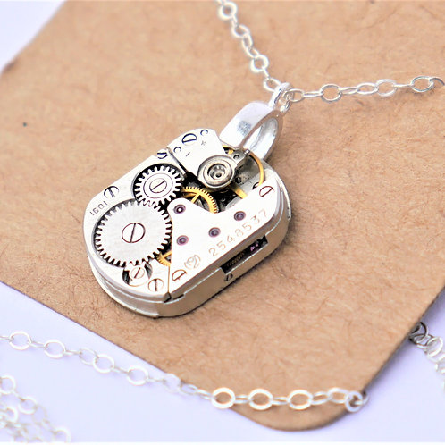 small oblong vintage watch mechanism necklace on sterling silver chain