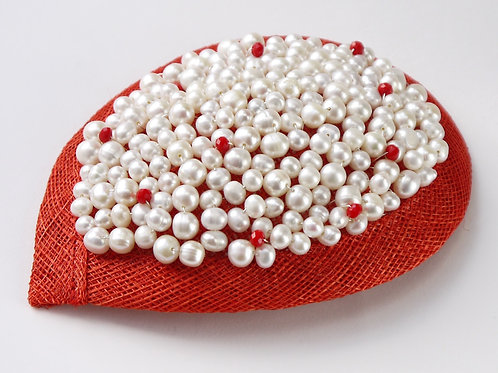 red & white pearl & crystal fascinator
