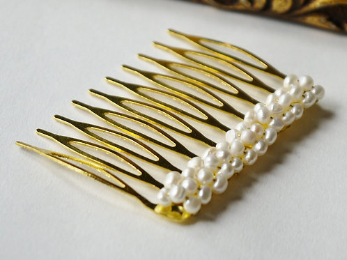 tiny freshwater pearl gold hair comb