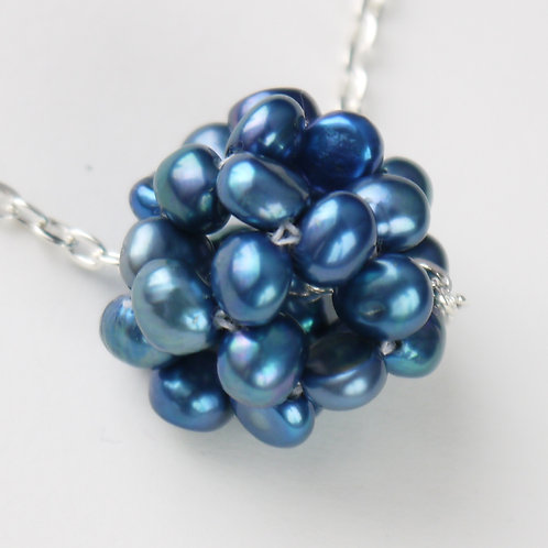 royal blue nugget pearl cluster necklace