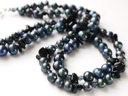 petrol black pearl,crystal, onyx necklace