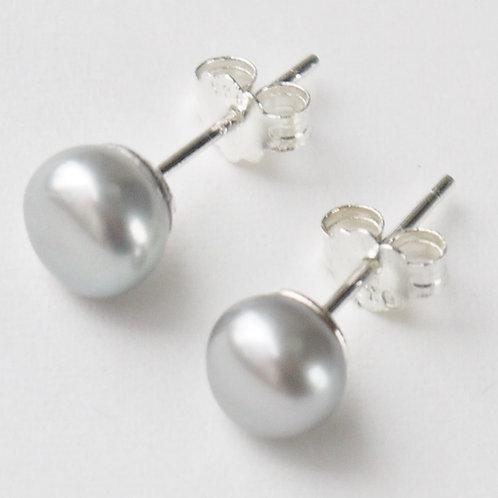 silver 7mm pearl sterling silver stud earrings