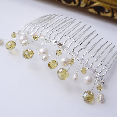 yellow mixed crystals and ivory pearls hair comb