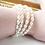 Thumbnail: large ivory rice pearl long length silver bracelet