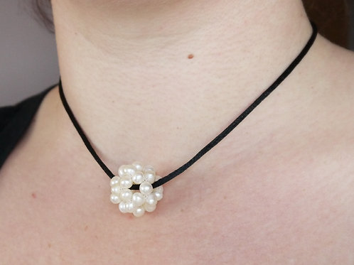 medium ivory pearl cluster on black satin cord