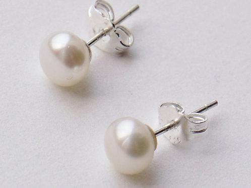 4mm ivory pearl sterling silver stud earrings