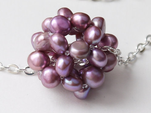 purple nugget pearl cluster necklace