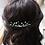 Thumbnail: mixed green crystal and ivory pearl hair comb