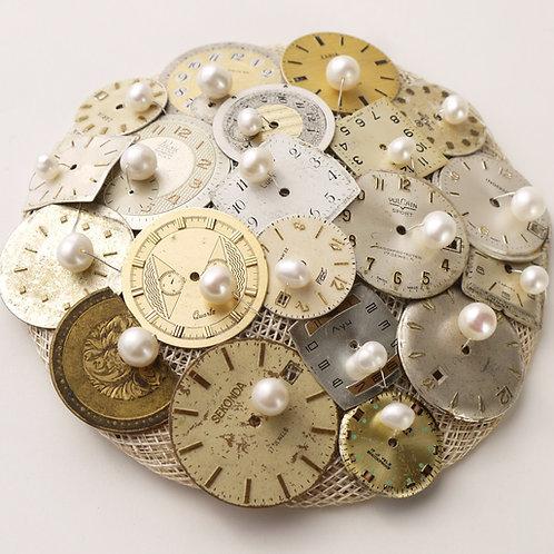 vintage watch faces & pearls fascinator