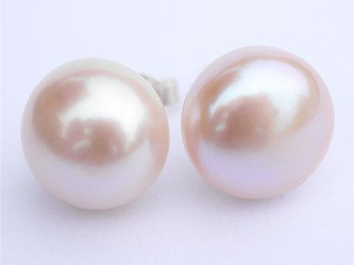 large 13mm pink freshwater pearl stud earrings