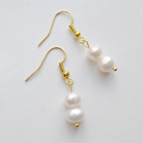 double round freshwater pearl silver hook earrings