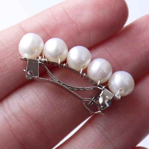 miniature ivory pearl hair barrette clip