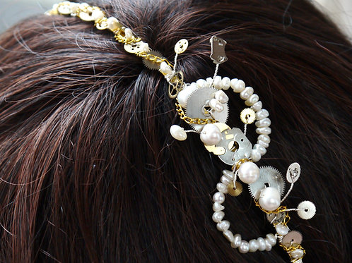 steampunk vintage watch parts & pearls side tiara