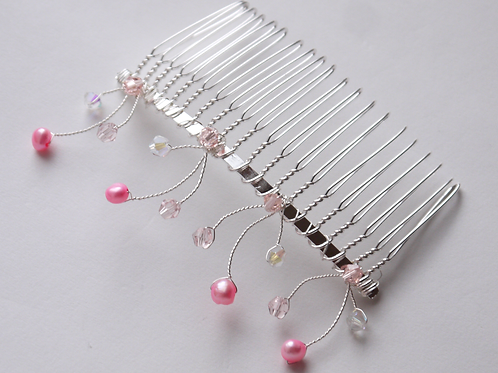 baby pink pearls & mixed pink crystals hair comb