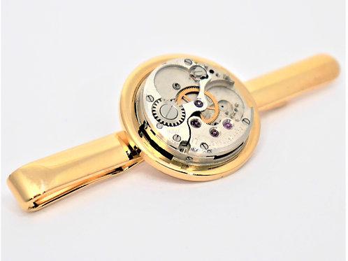 small round watch mechanism gold tie slide