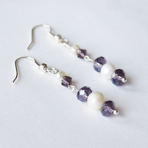 lilac crystal and ivory pearl articulated earrings