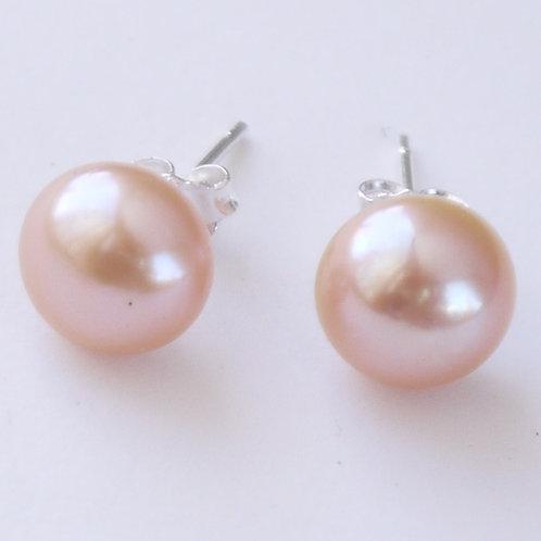 large pink pearl sterling silver stud earrings 9mm