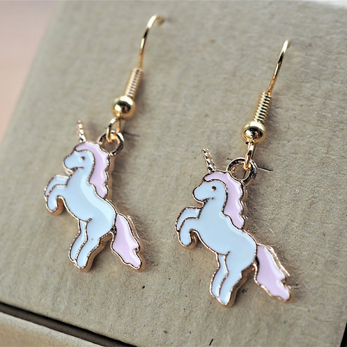 Pink unicorn enamel earrings