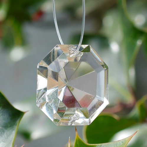 Large cushion cut crystal tree decoration