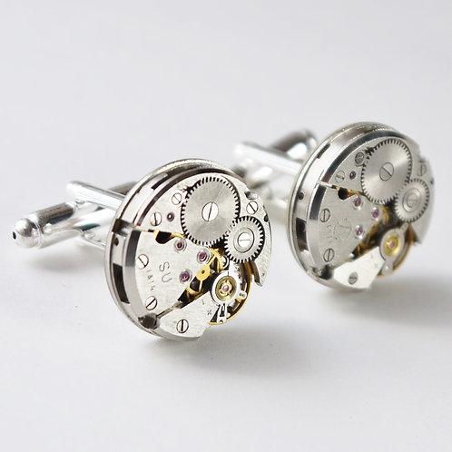 medium/small round watch mechanism cuff links