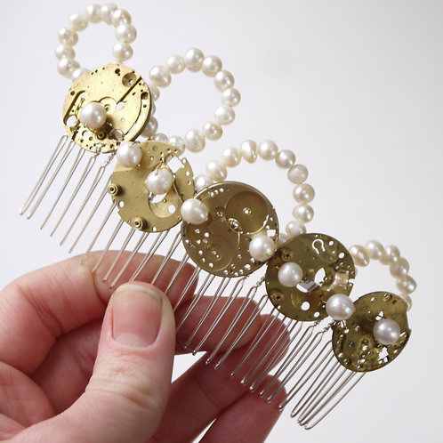 steampunk gold watch back & ivory pearl long comb