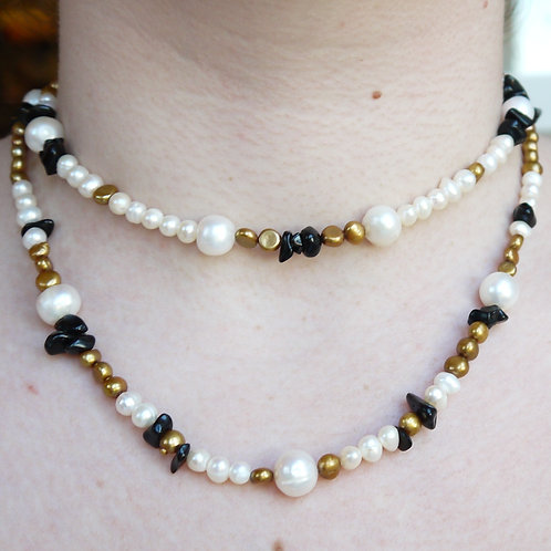 ivory & gold pearl and black onyx necklace