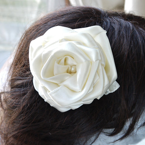 large ivory satin & pearl rose hair clip